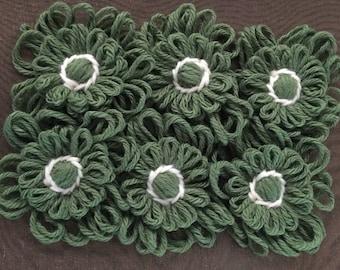 18 yarn flowers assorted greens craft supplies