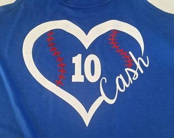 Baseball Heart Shirt, Baseball Shirt, Personalized Baseball Mom Shirt, Heart Baseball Shirt, Baseball Mom Gift, Woman's Baseball Shirt