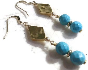 Turquoise Earrings - Gemstone Jewelry - Gold Jewellery - Hipster - Modern