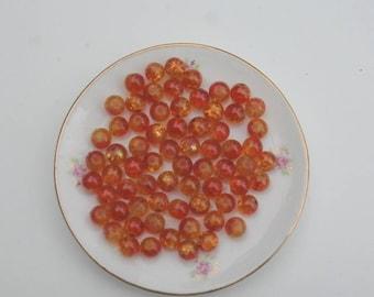 148 - Set of 50 beads yellow / orange Crackle Glass flower inside 8mm