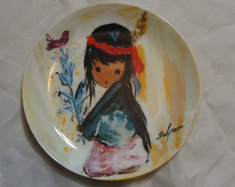 "Vintage Ted Degrazia Collector Plate ""My LITTLE PINK BIRD""."