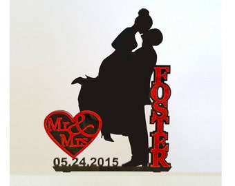 Dazzling Unique Wedding Cake Topper Silhouette with Name in Glitter, Bling - FREE Keepsake Display Base - Acrylic Cake Topper [CT18awg]