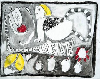Outsider Art Snake Drawing