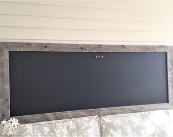 MAGNETIC Chalkboard Barnwood Frame Huge Bulletin Board X-LARGE Reclaimed Recycled Weathered Gray Rustic Wood 28 x 70 in Handmade Made in USA