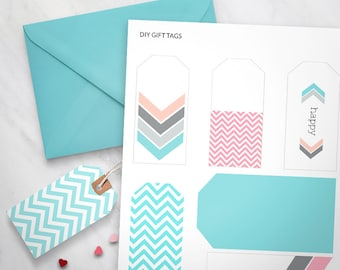 Printable Gift Tags Set of 6 - Pastel Chevron Design, gift wrapping, printable cards, printable swing tags, printable labels, stationery