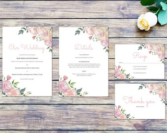 Pink Rose Printable Wedding Invitation Set