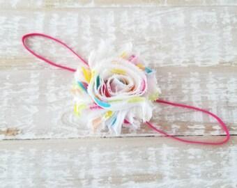 Rainbow Polka Dot Headband - Hot Pink Headband - Newborn Headband - Pink Baby Headband - Toddler Headband - Infant Headband - Baby Headband