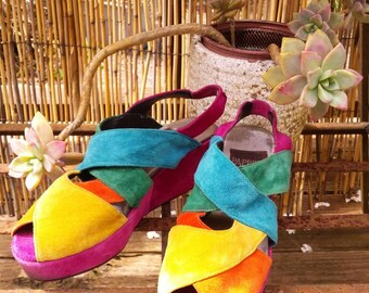 VINTAGE 70s 80s colorful Paprika wedge slingback platform shoes / boho gypsy festival / 8.5 8 1/2