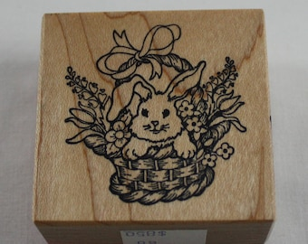 PSX Rubber Stamp  Bunny In A Basket Flowers 1993 Personal Stamp Exchange Like New Collectible