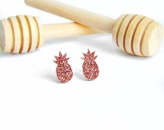 Pineapple stud earrings, pineapple earrings, gold pineapple earrings, summer earrings, minimalist earrings, rose gold pineapple earrings