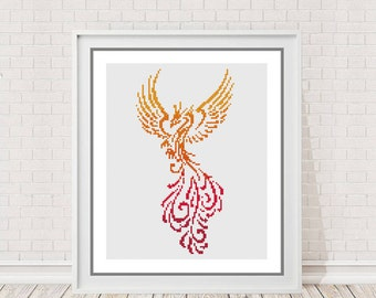 Colourful Phoenix Modern Counted Cross Stitch Pattern Chart | Instant PDF Download