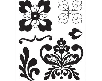 Clearance, Basic Grey Olivia Clear Self-Cling Bitsy Stamp Adornment STA2675 - Damask Clear Stamp, Cardmaking, Clearance