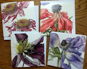Fading Flowers Greeting Cards - set of four