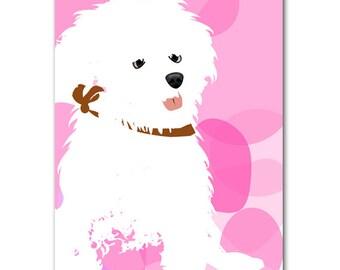 Bichon Frise Dog - Fine art print, Bichon Frise art, dog art prints, Dog lover, dog decor, white dog