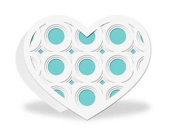 Pop Dot Heart Card , Blank inside , 3D , Blue , White , Love , Women , Teens , Kids , Girly , Circles, PaperCut