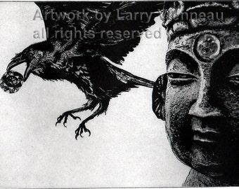 Raven artwork , Raven, crow, Etching, 5 inch x 7 inch, 2013
