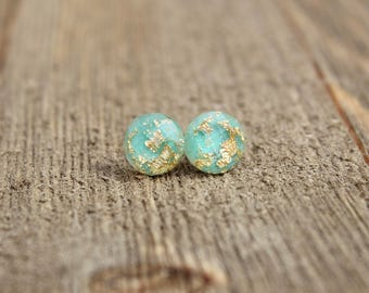 Mint Gold Leaf Earrings.