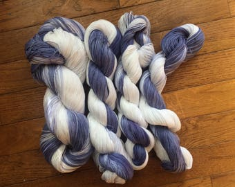 Half pound handdyed 8/2 cotton yarn ultraviolet white