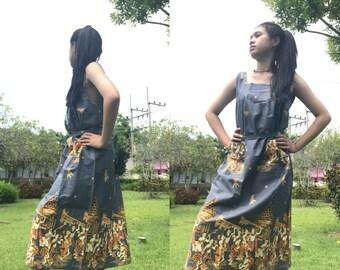 Long Cotton Dress, Thai Cotton batik with 2 pockets, Free size (see detail). D3