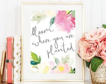 bloom where you are planted digital download, floral prints, pink prints, feminine prints, printable wall art, downloadable prints