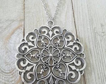 Part of my new Gypsy Soul line~ Filagree mandala statement necklace 24' in hypoallergenic stainless steel chain