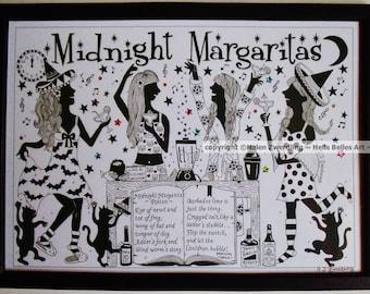 Midnight Margaritas ~ Practical Magic. A High Quality Framed A4 print of an Original Artwork by ©Helen Zwerdling ~ Hells Belles Art ~