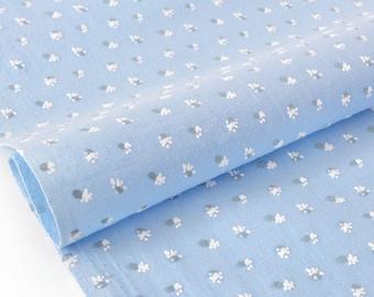 Cotton fabric soft floral flocked blue x 50cm