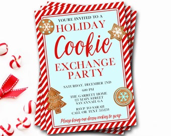 Christmas Cookie Party Invitation, Christmas Cookie Exchange Invitation, Christmas Party, Christmas Invitation, Cookie Swap, DIY Printable