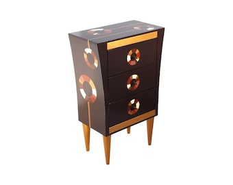 Handmade Wooden chest of drawers with Frame,  Hand painted Brown Gold White, Wood chest handmade, Mothers day gift