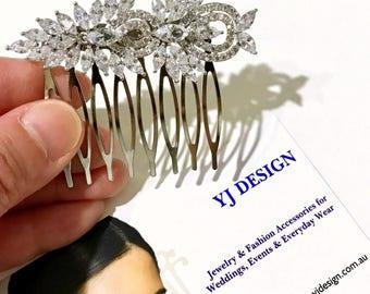 Cz Bridal Hair Comb, Vintage Style Bridal Hair Jewelry, Marquise Wedding Headpiece, Celebrity Glamour Wedding Hair Accessory, SAMURAI
