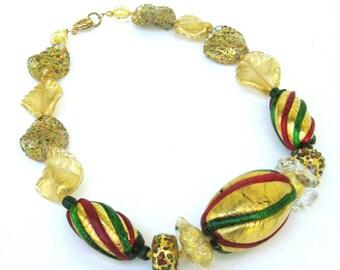 vintage venetian glass necklace ...  handmade hand blown glass beads   ...  venice  italy