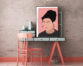 "Millennial Pink Modern Minimal Portrait ""Sonja"" by Jules Tillman - Fine Art Lustre Print. woman abstract portraiture pink black fashion art"