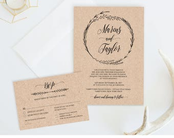 Printable Wedding Invitation Template, Rustic Wreath Wedding Invite, RSVP & Detail Card, Instant Download, Fully Editable Template #022A