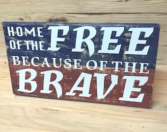 Patriotic Wooden Sign
