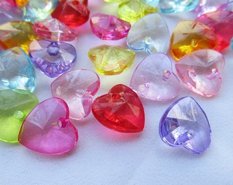 30pcs Faceted Heart Charms 14mm Faceted Acrylic Beads Mixed Color s103