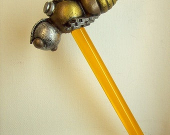 Robot Bee Cane with Wood Top Sculpture and Honey or other Clear Walking Stick