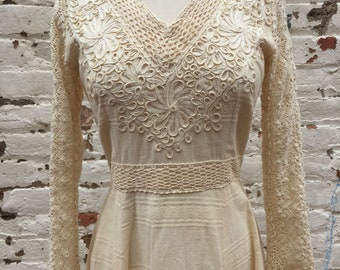 1960s/70s Mexican wedding gown boho dress