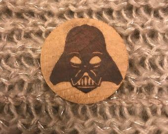 Star Wars Darth Vader Wooden Badge Pin Laser Engraved Handmade Brooch Geek Gift Sci-Fi Gift