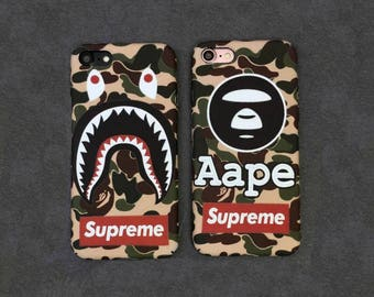 Bape A Bathing Ape Camo Camouflage Supreme Army Shark Mouth Hard plastic Design Cover For Iphone X 6 plus/6s/6s Plus/7/7 8 Plus Coque fundas