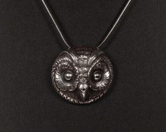 Sterling Silver Owl pendant made from antique vintage button
