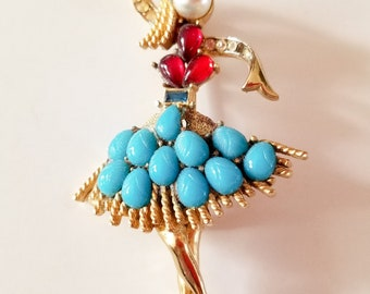 Vintage Coro Ballerina Dancer Turquoise and Rhinestone Brooch NEEDS STONES