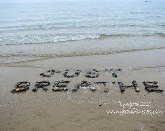 Beach Sentiment JUST BREATHE Photo 5x7 with Mat- relaxing word spelled out with beach stones in the sand, beach word photo, yoga, calming