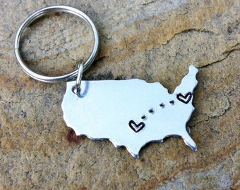 CUSTOM USA Key chain / Long Distance Love Handstamped America Keychain with Hearts