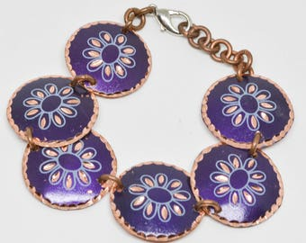 Simple But Charming Copper and Enamel Bracelet