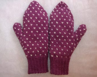 Rose Thrummed Mittens