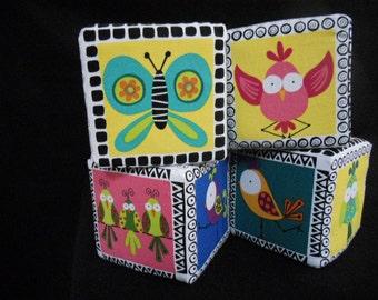 "5"" Soft Blocks - set of 4 Woodland Animals/Sweet Tweets Birds-Bugs"