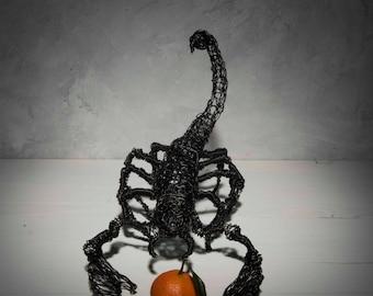 Wire sculpture, Birthday gift, Zodiac gift, Scorpion sculpture, floor sculpture, Husband gift, Steampunk art, floor Decor, Woodland decor