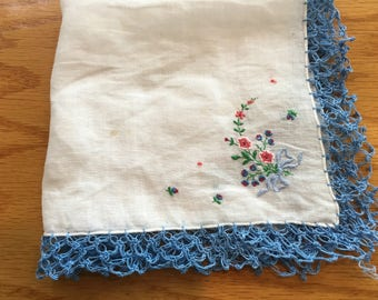 """Vintage Blue Embroidered Floral Handkerchief Hanky 12"""" with Blue Tatted Lace Hem- blue floral embroidered handkerchief, blue floral hanky"""