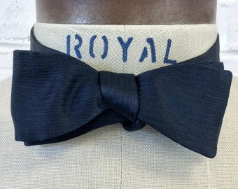 Vintage 1950s Midnight Blue Silk Faille Batwing Bow Tie by A. Sulka