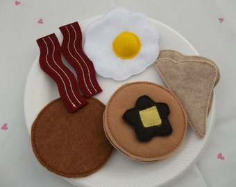 Felt Food - 10 piece Breakfast Platter  with Pancakes Felt Play Food Set